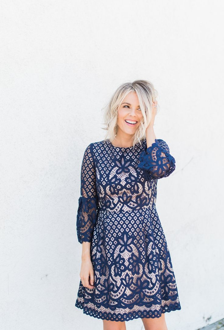 Navy Lace Dress - Comes in White for engagement party or bridal shower
