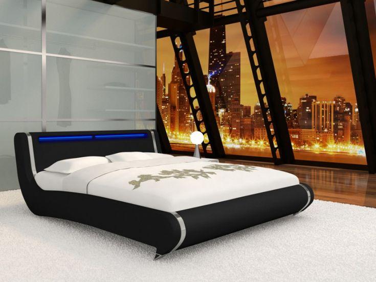 Estructura de cama SUNRISE 160x200 cm - Piel sintética negra y LEDs