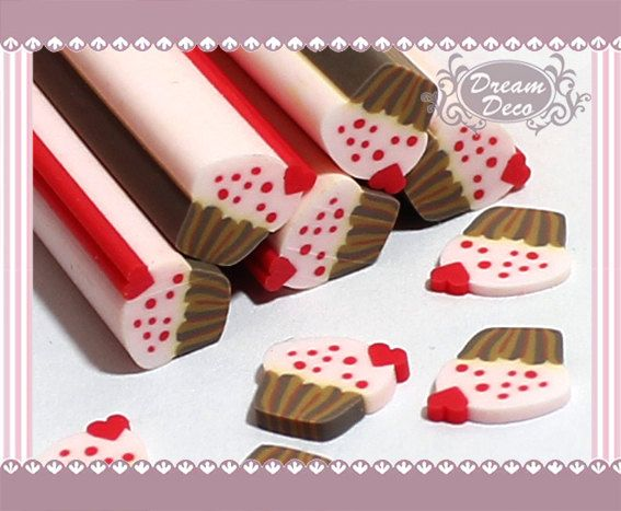 Pink Cupcake Cake Polymer Clay Cane / Fimo Cane Stick For Nail Art Decoration Miniature Food / Dessert / Cake Decoration F009. $0.99, via Etsy.