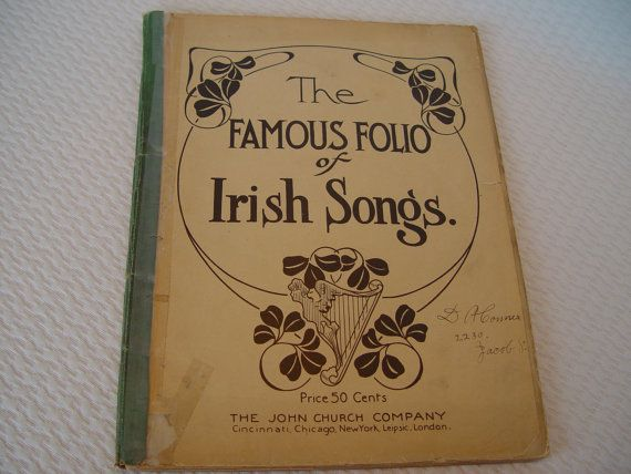 Famous Folio of Irish Songs Vintage Sheet Music by GandTVintage, $10.00