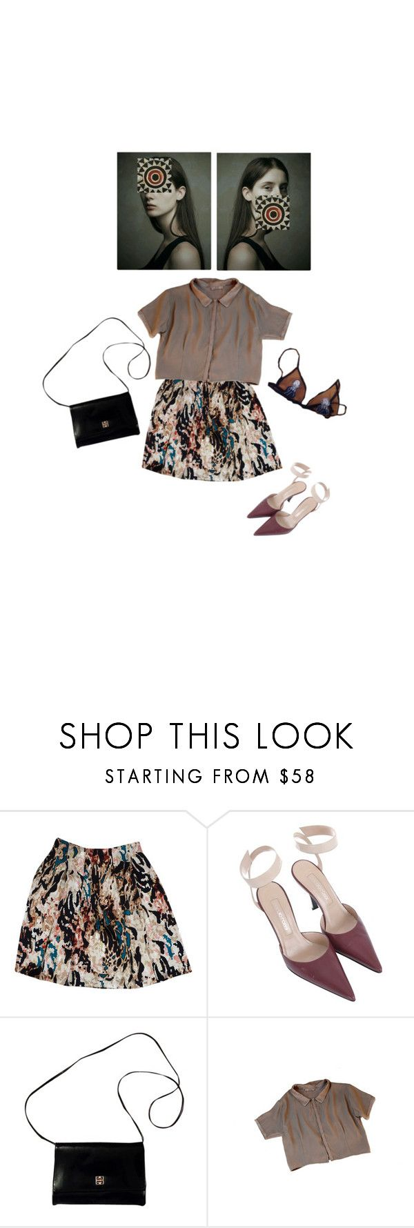 """""""62) looking for signs of life"""" by theotherjoanne ❤ liked on Polyvore featuring Rachel Roy, Sergio Rossi, Givenchy, NOVICA, vintage, SergioRossi, bralette and CollaredTop"""