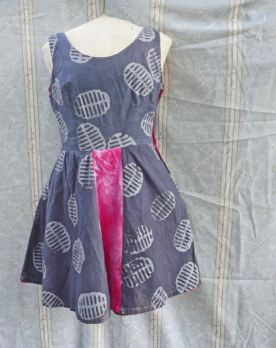Reversible Sundress Hot Pink and Grey Medium Batik by GraceAtieno, $65.00