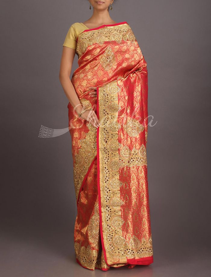 Kalyani Rustic Gold Heavy Ornate Kanchipuram Hand-Work Silk Saree