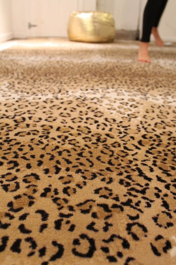 Leopard carpet in master room/ walk in closet.: