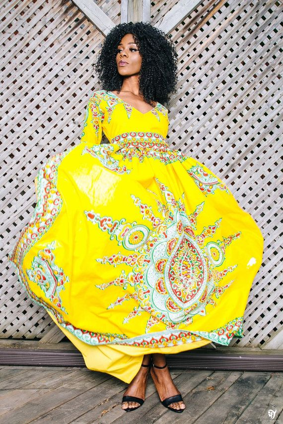 Yellow african print dresses