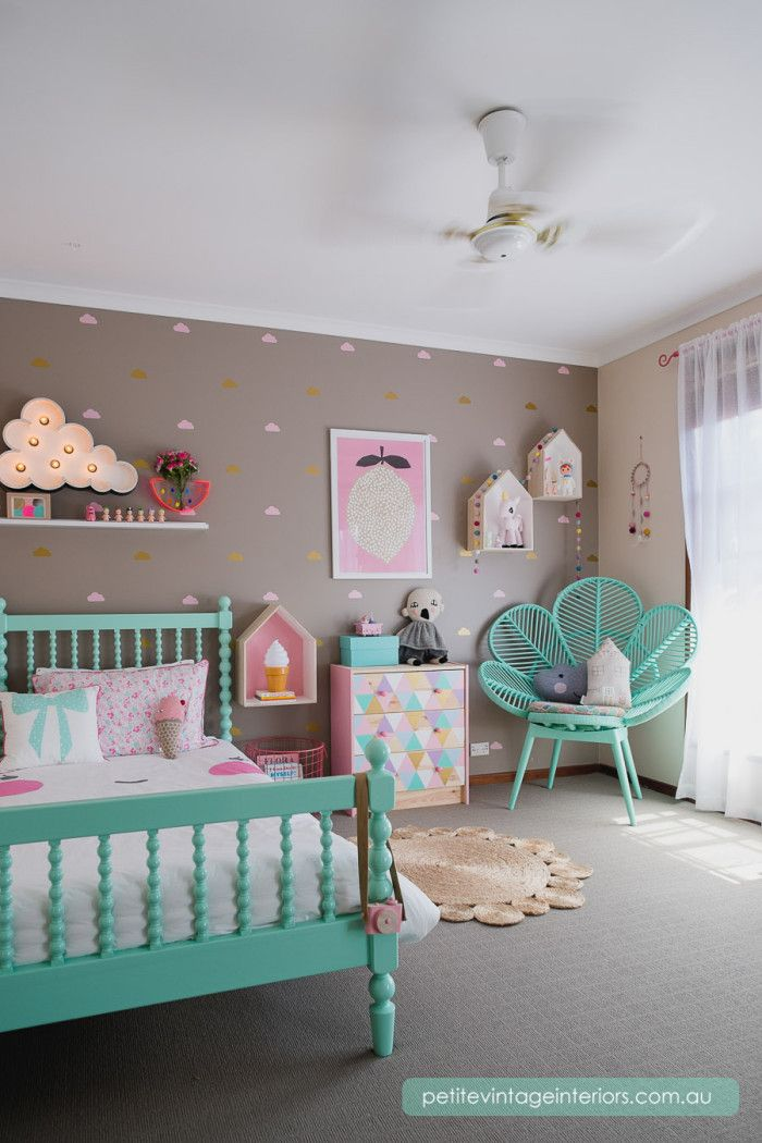 The color of that bed! Cute girls room