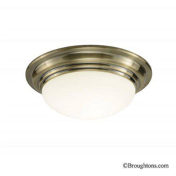 Small Barclay Flush Bathroom Ceiling Light Antique Brass