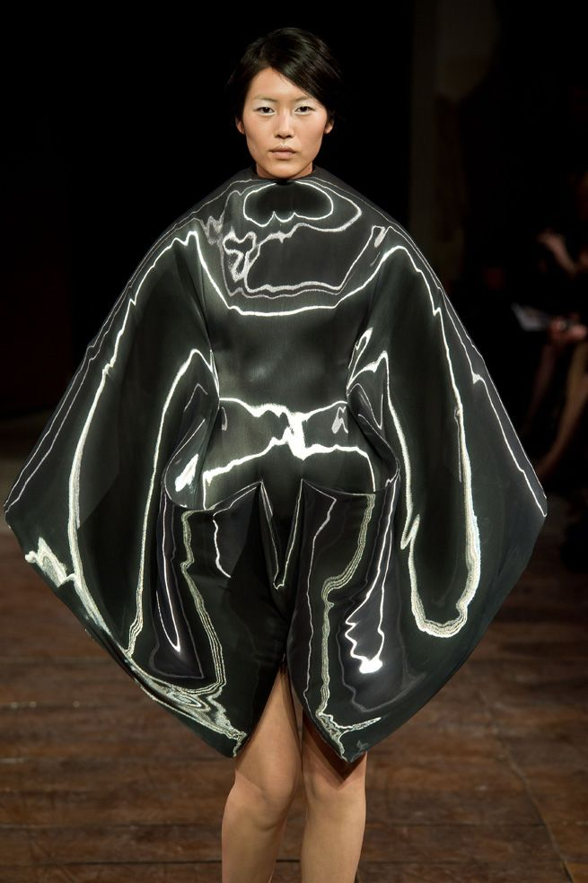 Sculptural Fashion - dramatic dress with tactile 3D contours - alien futuristic fashion; alternative materials // Iris van Herpen