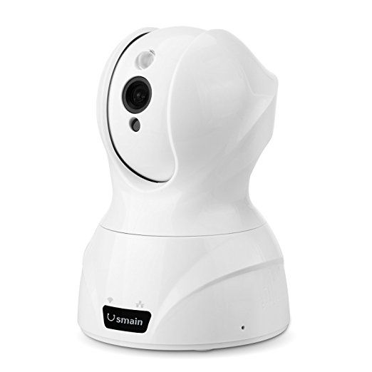 Usmain 720P Schwenkbare WLAN Kamera HD WiFi Baby Monitor Indoor/Heim IP Überwachungskamera mit IR-Nachtsicht, Bewegungserkennung, Eingebautes Mikrofon und Micro SD-Karte-Steckplatz für MacBook und Windows PC, iOS/Android Touchscreen Smartphones und Tablets