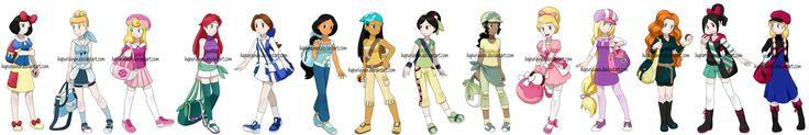 Snow White, Cinderella, Aurora, Ariel, Belle, Jasmine, Pocahontas, Mulan, Tiana, Charlotte, Rapunzel, Merida, Vanellope, Anna