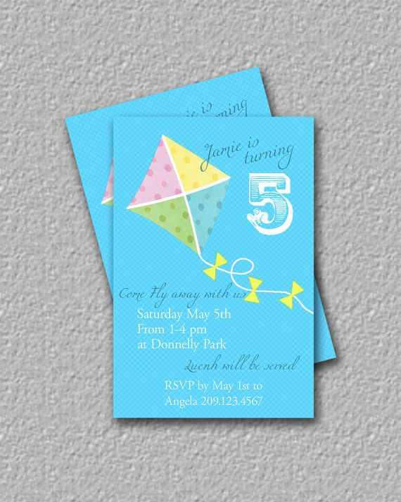 Kite Invitation Printable Birthday Invitation by TheRedStarDesigns, $14.00