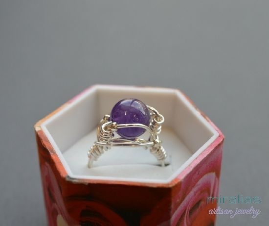 silver plated wire wrapped ring with amethyst