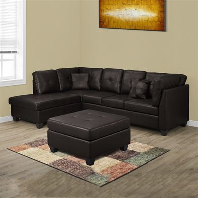 Monarch Specialties I 8375 Bonded Leather Sectional Sofa