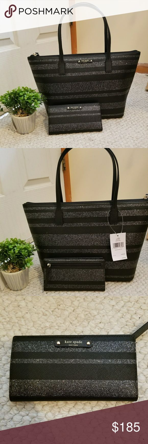 """Kate Spade Hani Lane Black Glitter Set Brand new with tags. Kate Spade Tote and Kate Spade Stacy Wallet  Beautiful saffiano style PVC tote in black with horizontal glitter stripes  Flat bottom  Dual flat leather handles with 6"""" drop  Interior:Fully lined in Kate Spade custom fabric 1 zipped pocket with leather pull along interior rear 2 slit pockets along interior front wall  Measurements: 15"""" w x 9"""" h x 5"""" d  About wallet Medium wallet with snap closure 12 credit card slots, ID slot and…"""