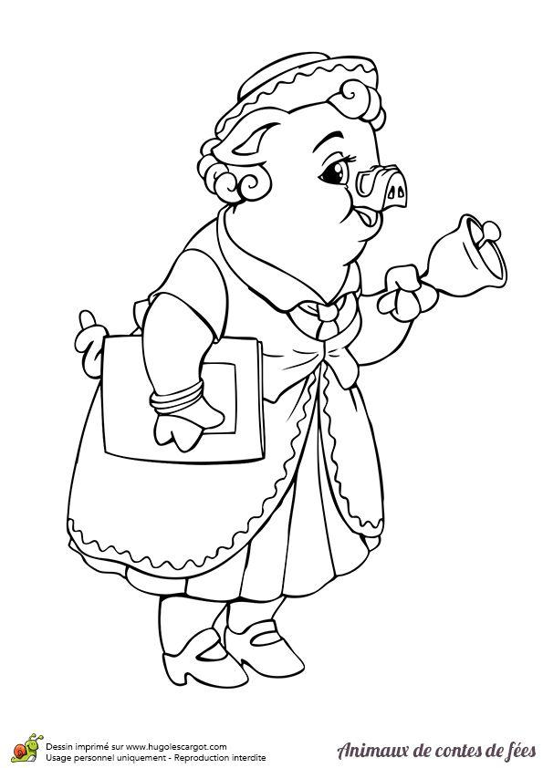 Maman cochon qui agite une cloche en appelant ses enfants pour leur raconter une histoire - Dessin d un cochon ...