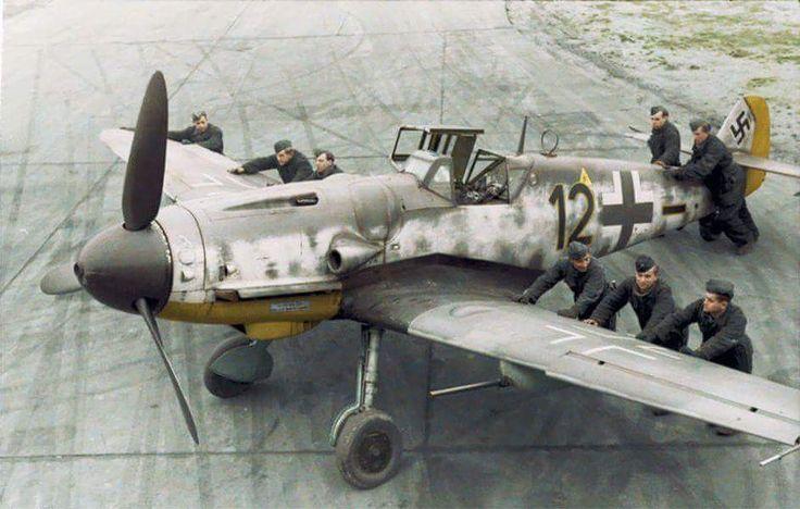 Messerschmitt Bf-109 G6R6 5.Jagdgeschwader 2 (Schwarze 12) WNr 27083 DP+JC of pilot Unteroffizier Heinz Hünig at the Aèrodrome de Poix-en-Picardie in France. 2 October 1943. Heinz Hünig was KIA...