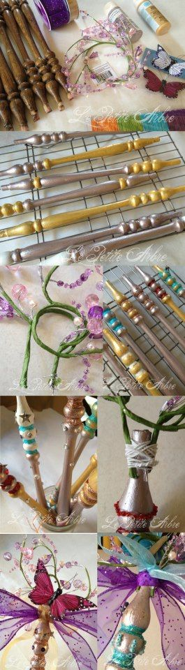Crafts with Kids:  Spring Fairy Wands Wands.  Old chair spindles were used here to make the awesome shapes.