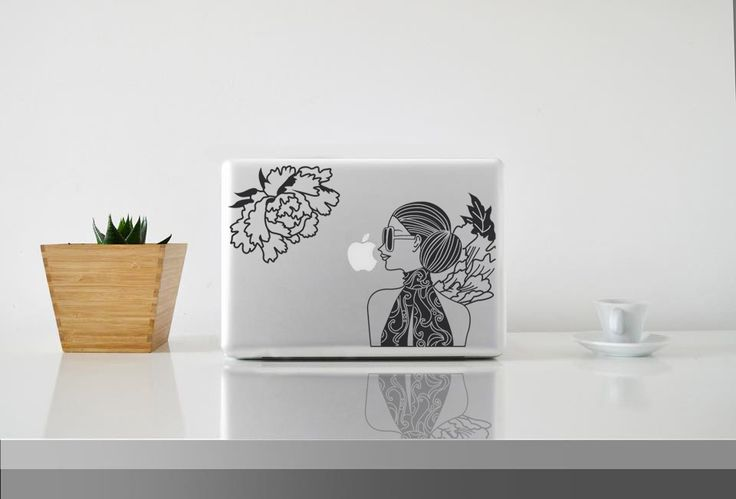 Mina and the Flowers || MacBook sticker || our online store: www.etsy.com/it/shop/PasteITsticker || our facebook page: https://www.facebook.com/pasteit.it || #pasteit #sticker #stickers #macbook #apple #blackandwhite #art #drawing #custom #customize #diy #decoration #illustration #design #technology #computer #pc #concept #idea #minimalist #decal #skin #cover #laptop #character #woman #flowers #mina #sunglasses