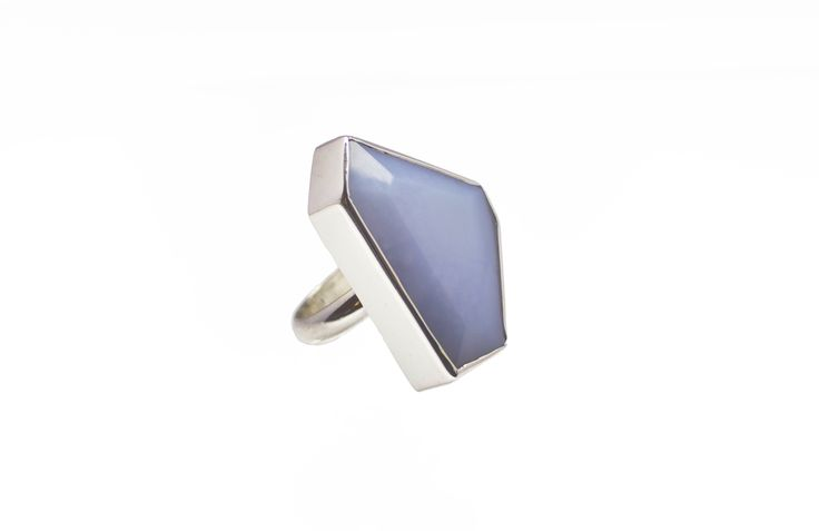 Oblique Blue Chalcedony Ring sterling silver. Featuring unique geometric materials, the Oblique Collection is both bold and beautiful. With no two stones the same, each piece created is truly individual.