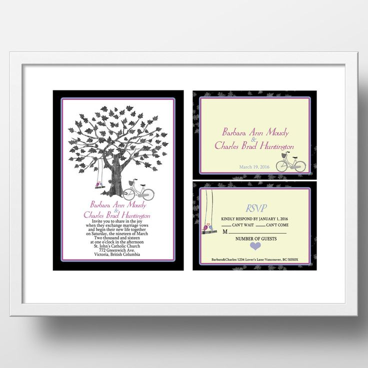 Maple tree with swing_birds and bicycle wedding invitation and RSVP