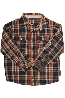 A boys shirt in checked fabric, with pockets and Naartjie Kids SA applique detail.