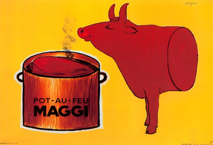 Read more: https://www.luerzersarchive.com/en/magazine/print-detail/maggi-(nestle)-19735.html Maggi (Nestle) Maggi soup. French poster from 1960. Tags: Raymond Savignac,Maggi (Nestle)