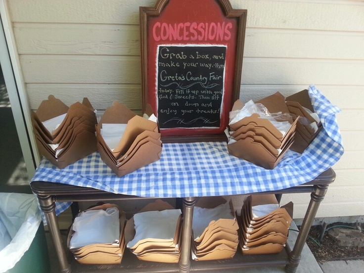 Boxes pre-packed with napkins and silverware Concessions at country fair birthday party
