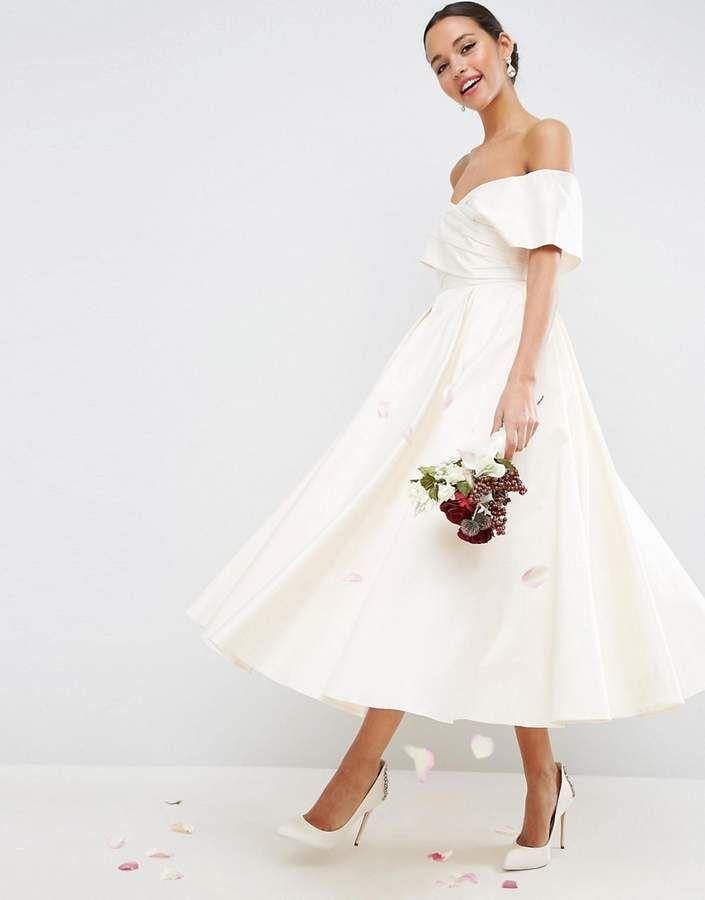715cd83c9d ShopStyle  Asos BRIDAL Off The Shoulder Bonded Sateen Debutante Dress