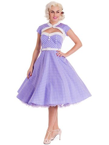 """Lilac & White Melanie Day Dress - Available at Anomalie Clothing - This lovely 1950's inspired day dress features polka dot print, sweetheart neckline, faux bolero, cap sleeves, 3 white cotton covered faux buttons on the bodice, white belt at the waist, full circle skirt (shown here with 26"""" petticoat), zip in centre back seam, and cotton fabric with slight stretch (98% Cotton, 2% Spandex). Perfect day dress for a Spring or Summer picnic!"""