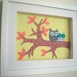 owl fabric wall art