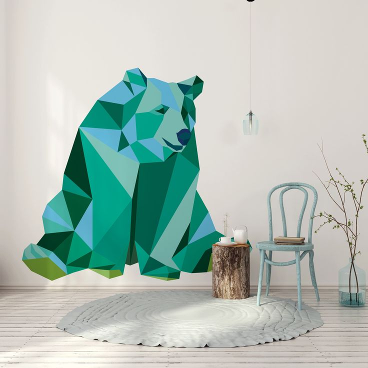 Bear - geometric animals collection. This pattern is available as sticker, wall mural, poster or canvas print. You can decorate your living room, bedroom, kid's room.    Find your inspirations: myloview.com