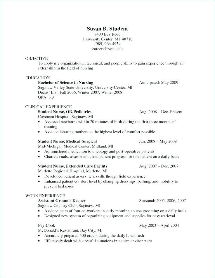 Ob Nurse Resume Student Nurse Resume Sample Resume For Nurses With