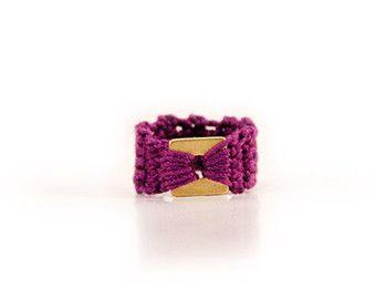 delicado anillo - oro - púrpura - declaración anillo - acero inoxidable - algodón - MudenoMade hipoalergénico-