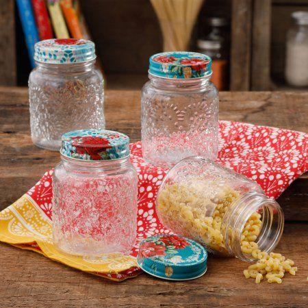 Buy The Pioneer Woman Betsy 16Oz Storage Jars 4Pk, Set of 4 at Walmart.com