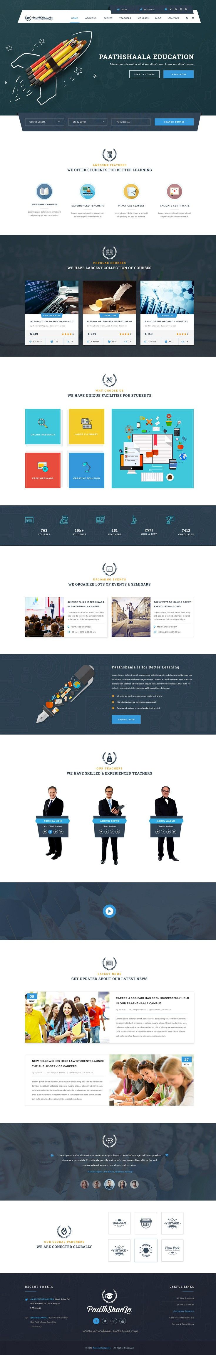 Paathshaala - Education & Courses PSD Template