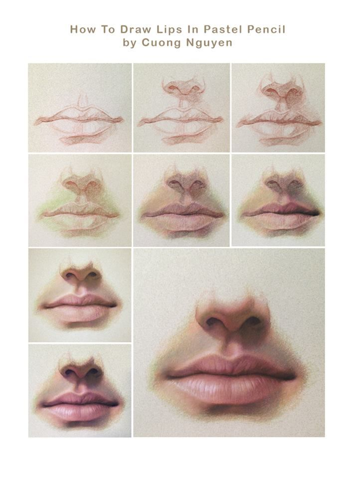 How to draw the lips in pastel pencil by Cuong Nguyen