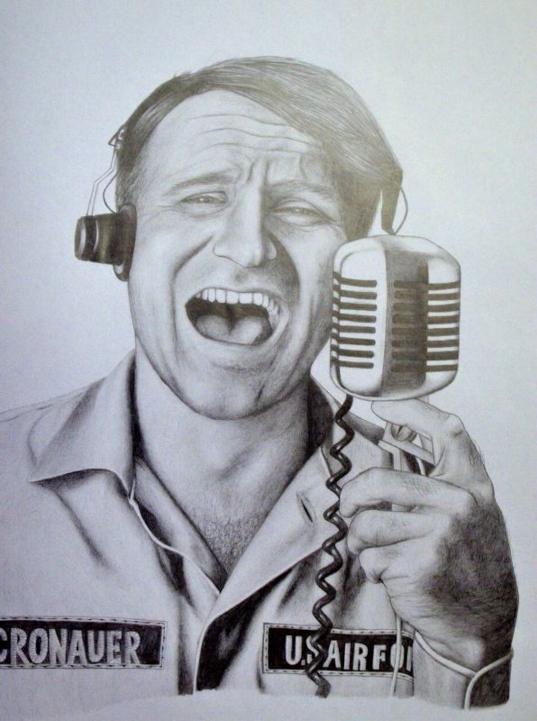 "Adrian Cronauer as portrayed by Robin Williams in ""Good Morning Vietnam.""  Cronauer was born in the burgh, attended Pitt, was drafted and ended up on Armed Services Radio in Saigon in the mid 60s. Credited with keeping troops entertained during his regular morning radio show, ""Dawn Busters."""