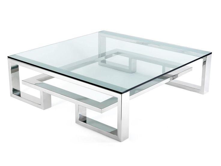 inspirant  table basse acier et verre