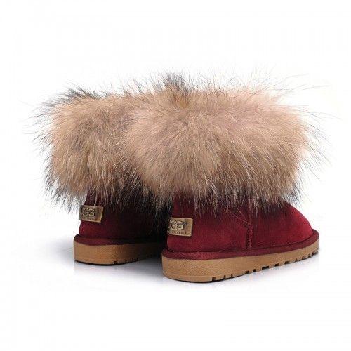 lacné Dámske UGG líščou kožušinou ovčej kožušina/Fox Mini obuv čižmy 5854 červene