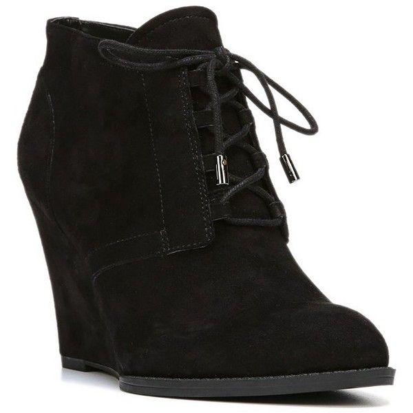 Franco Sarto Women's Lennon Suede Wedge Booties ($41) ❤ liked on Polyvore featuring shoes, boots, ankle booties, mushroom, laced up ankle boots, wedge ankle boots, lace-up bootie, wedge booties and suede wedge bootie