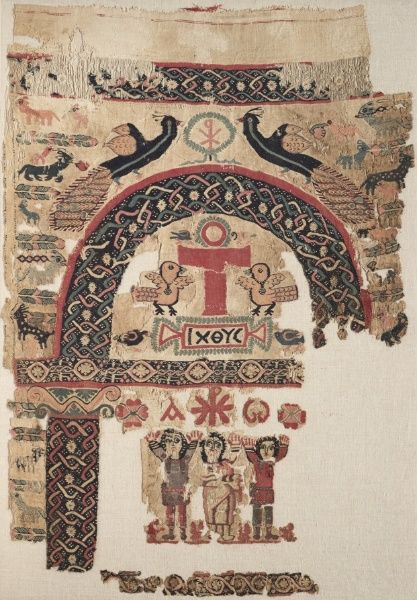 Hanging with Christian Images, 500s Egypt, Byzantine period, 6th century plain weave (tabby) with inwoven tapestry weave; dyed wool, undyed linen, 1982.73