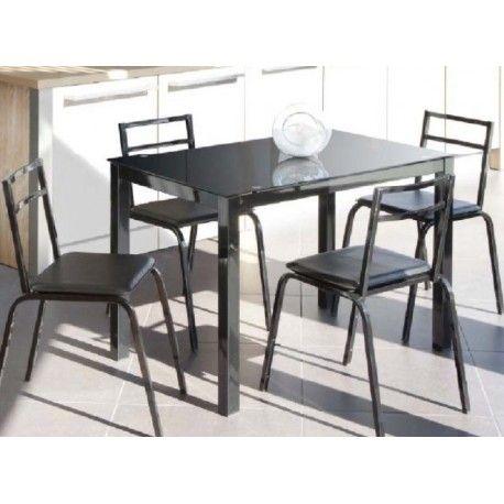 Es un conjunto de mesa metálica extensible a los dos laterales en melamina con grosor del tablero 18mm, con tapa de cristal translúcido translúcido con estructura metálica con recubrimiento y tapa de cristal templado con cuatro sillas metálicas.