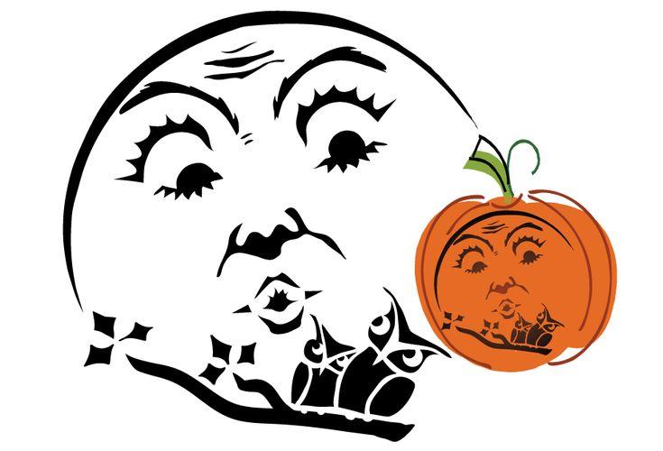 Beautiful Halloween Moon and Owls Pumpkin Stencil @ Vintage Fangirl