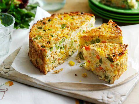 Salmon and Vegetable Rice Pie - Gluten Free