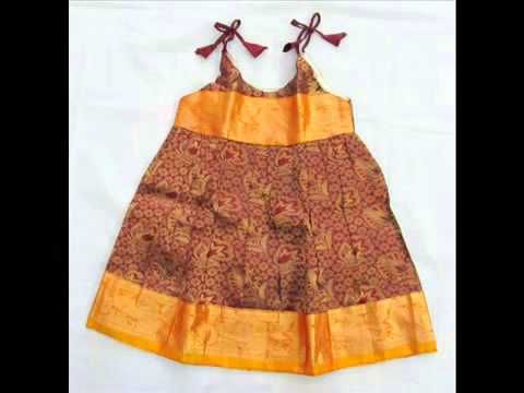indian pure silk baby frocks clothing wear for kids or infant babies - YouTube