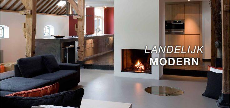 Landelijk moderne keuken - Eiland uitgevoerd met RVS fronten - betonnen aanrechtbladen met doorlopende betonnen zijwanden zijn ter plaatse gegoten - Pitt Cooking kookplaat - Gessi kraan - hoge kastenwand uitgevoerd in massief eiken hout - Miele apparatuur