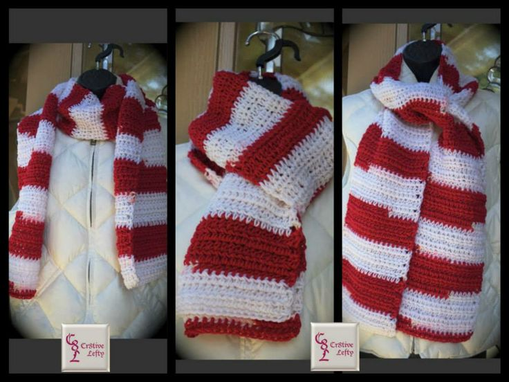 Red and White Crochet Scarf - Handmade in the U.S.A. This scarf is perfect for being outdoors to cheer on your favorite sports team or any activity where you need additional protection from the cold. Price: $19.00 + shipping and it is machine washable. #crochet  #handmade