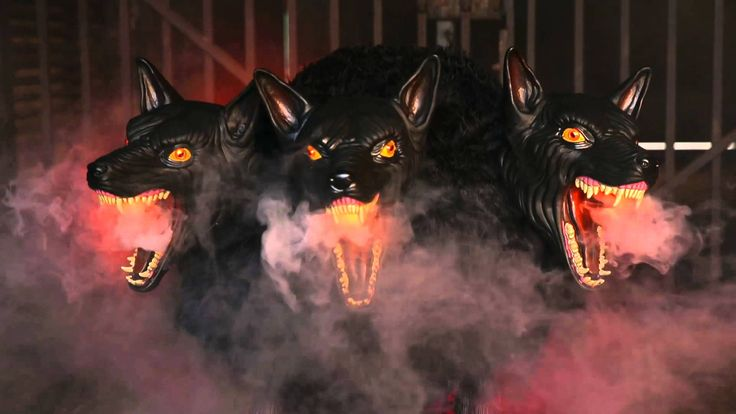 Cerberus 3-Headed Dog - These crazed dogs will stand guard over your lair as they open their jaws wide to show frighteningly sharp teeth that snarl and snap after any piece of meat, alive or dead!