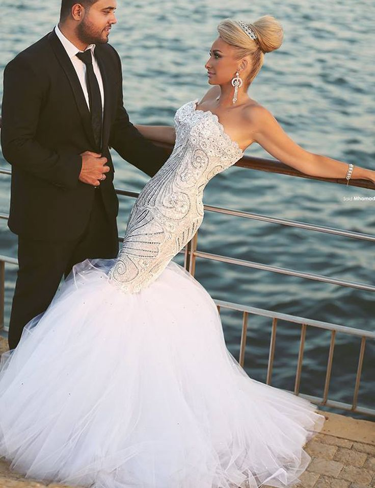 Fishtail Wedding Dress With Train : Fishtail mermaid wedding dresses sweetheart sweep train bride