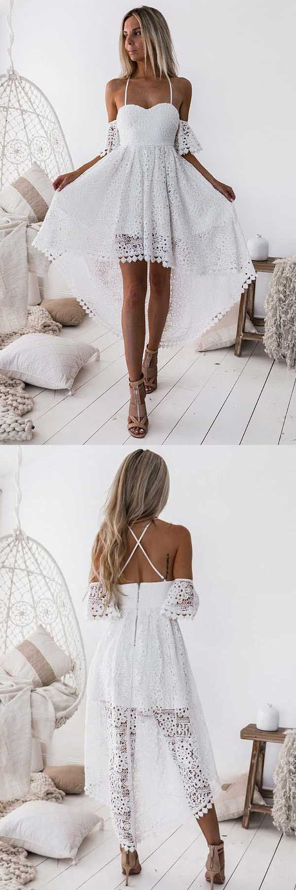 A-Line Straps Off-the-shoulder High Low White Lace Homecoming Dress PD013